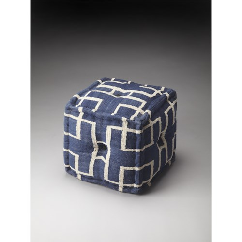 Butler Specialty Company Accent Seating Berkeley Blue Cotton Pouffe