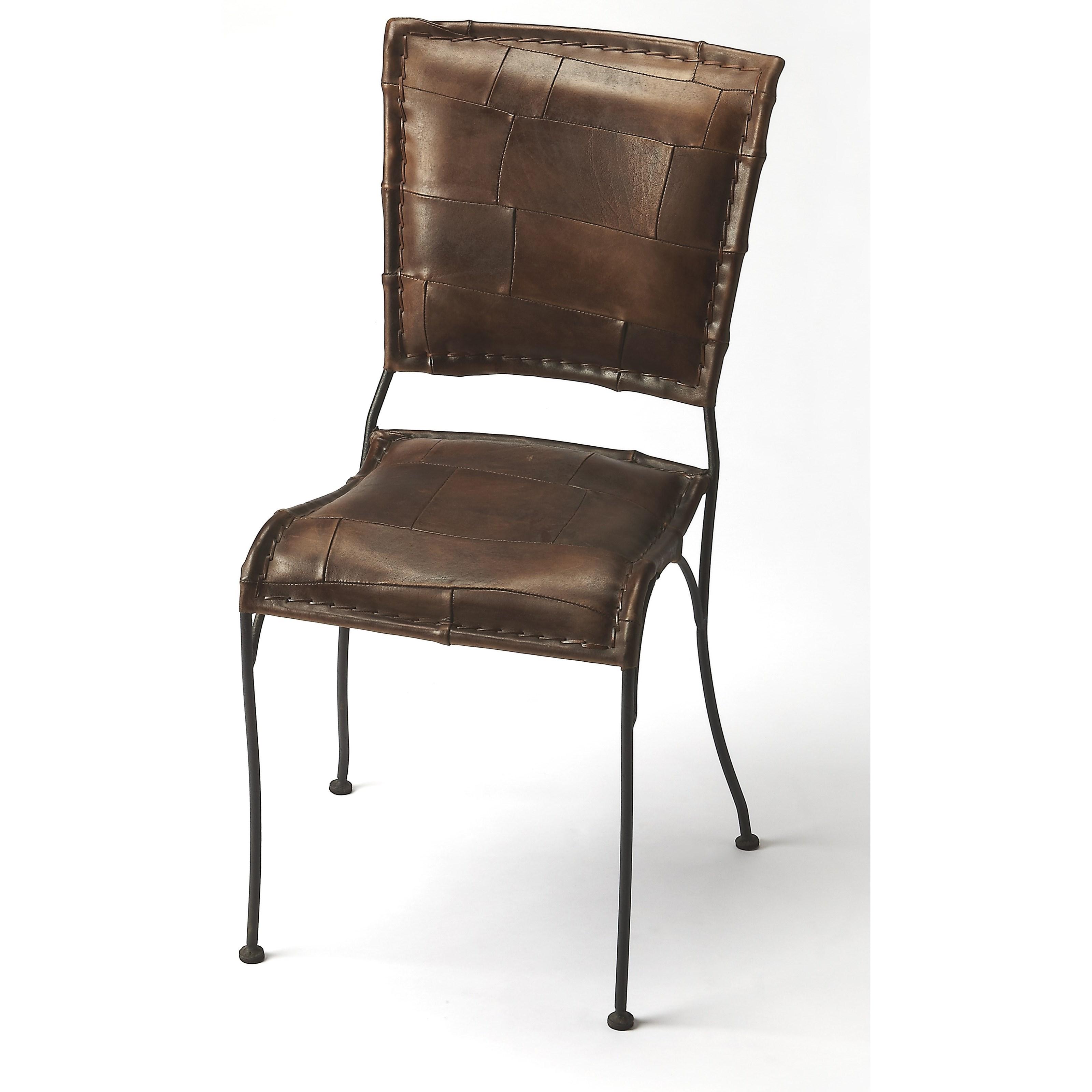 Maverick Iron & Leather Side Chair