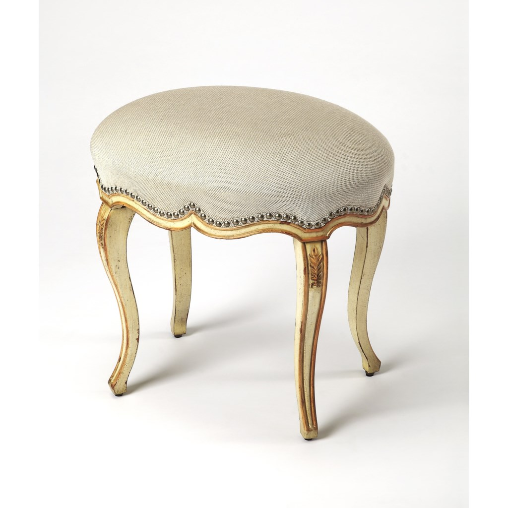 Butler Specialty Company Artist's Originals Michelline Cream & Gold Painted Vanity  Stool - Jacksonville Furniture Mart - Vanity Stools/Vanity Chairs
