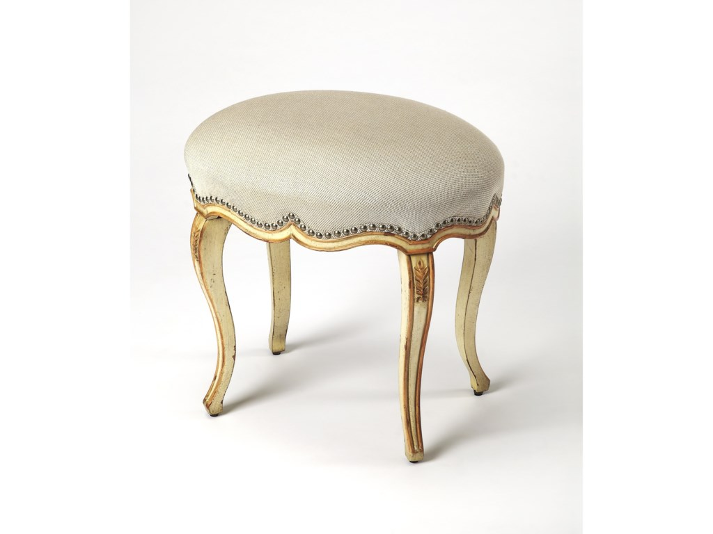 Butler Specialty Company Artist S Originals Michelline Cream Gold Painted Vanity Stool