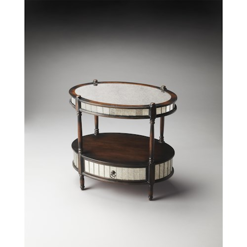 Butler Specialty Company Artist's Originals Barrington Mirrored Pecan Oval Accent Table