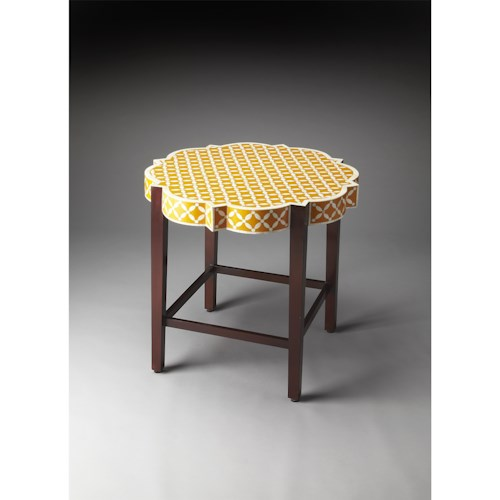Butler Specialty Company Bone Inlay Anastasia Yellow Bone Inlay Accent Table