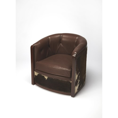 Butler Specialty Company Cosmopolitan Wyatt Leather & Hair-on-hide Tub Chair