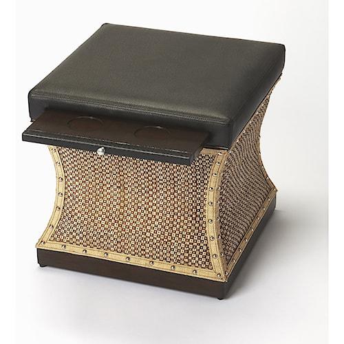 Butler Specialty Company Cosmopolitan Mathilda Raffia & Leather Bunching Ottoman