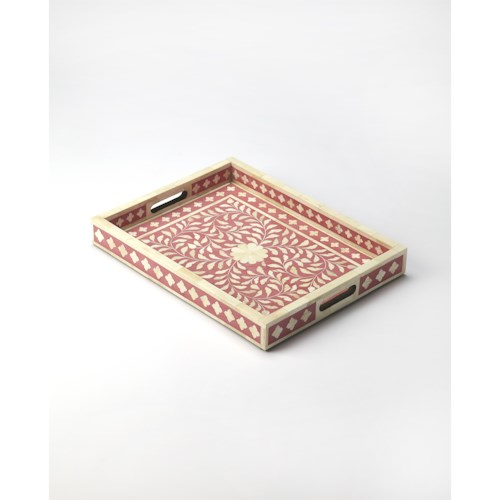 Butler Specialty Company Hors D'oeuvres Vivienne Pink Bone Inlay Serving Tray