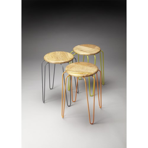 Butler Specialty Company Industrial Chic Easton Wood & Iron Stackable Stools