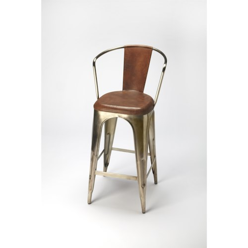 Butler Specialty Company Industrial Chic Roland Iron & Leather Barstool