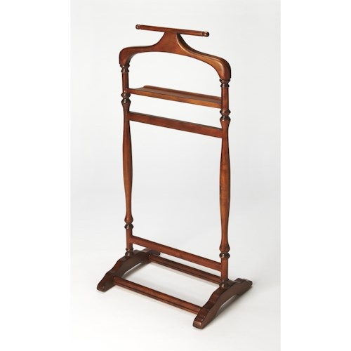 Butler Specialty Company Masterpiece  Judson Olive Ash Burl Valet Stand