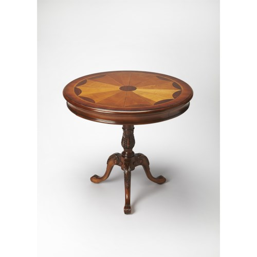 Butler Specialty Company Masterpiece  Carissa Olive Ash Burl Round Pedestal Table