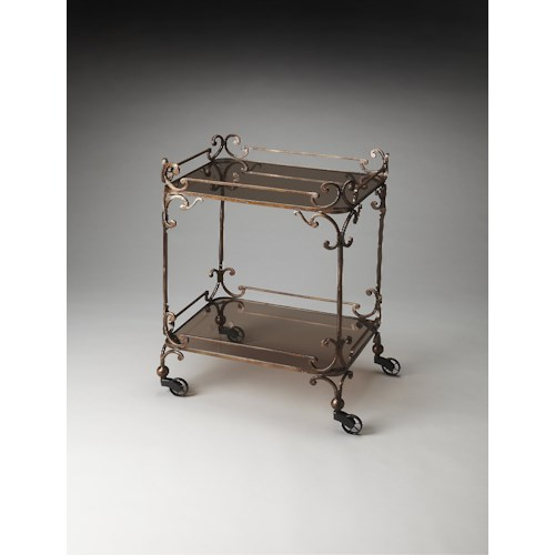 Butler Specialty Company Metalworks Delphine Iron & Glass Serving Cart
