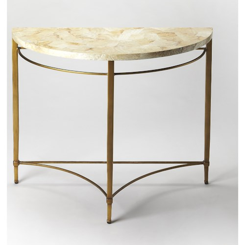 Butler Specialty Company Metalworks Marlena Cabebe Shell Demilune Console Table