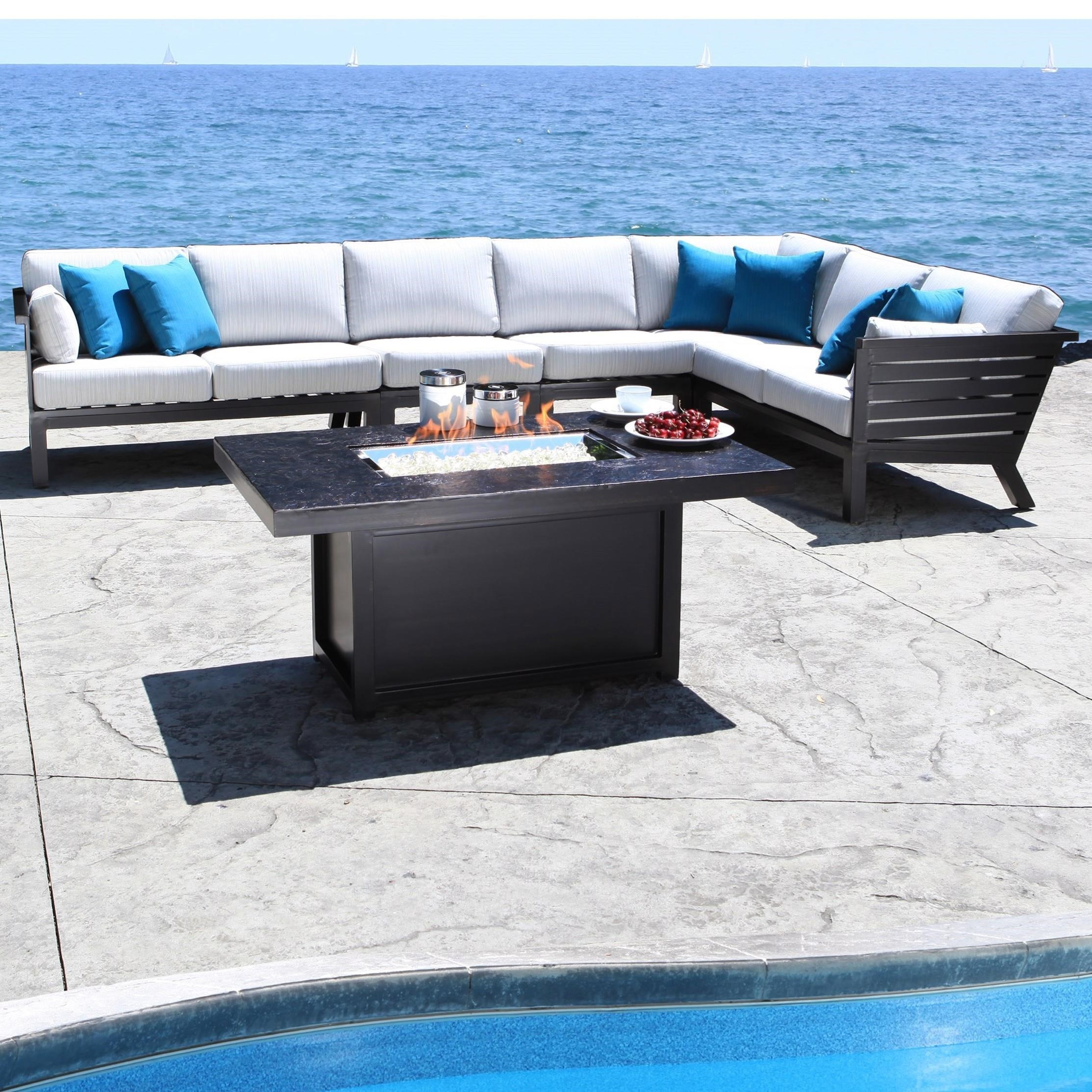 Cabana Coast Apex 5 Piece Contemporary Outdoor Sectional   Hudsonu0027s  Furniture   Outdoor Sectional Sofa Group