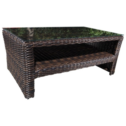 Awesome Cabana Coast Severn Outdoor Wicker Coffee Table with Glass Top Simple Elegant - Model Of resin wicker side table Simple