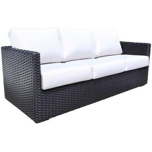 Cabana Coast York Outdoor Sofa With Wicker Base And Removable Cushions