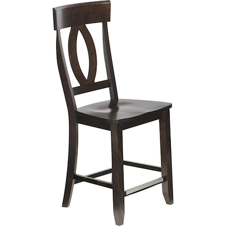 "Customizable 23"" Wood Seat Fixed Stool"