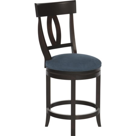 "Customizable 24"" Upholstered Swivel Stool"
