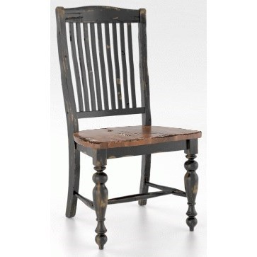 Customizable Side Chair with Distressed Finish