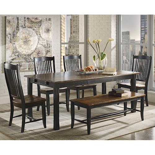 Canadel Champlain - Custom Dining Customizable Rectangular Table Set with Bench