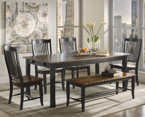 Canadel Champlain - Custom Dining Customizable Rectangular Table Set with Bench