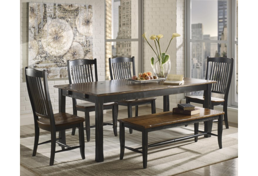 Canadel Champlain Custom Dining Tre3878 4xcha0232 Ben8903 Customizable Rectangular Table Set With Bench Becker Furniture Table Chair Set With Bench