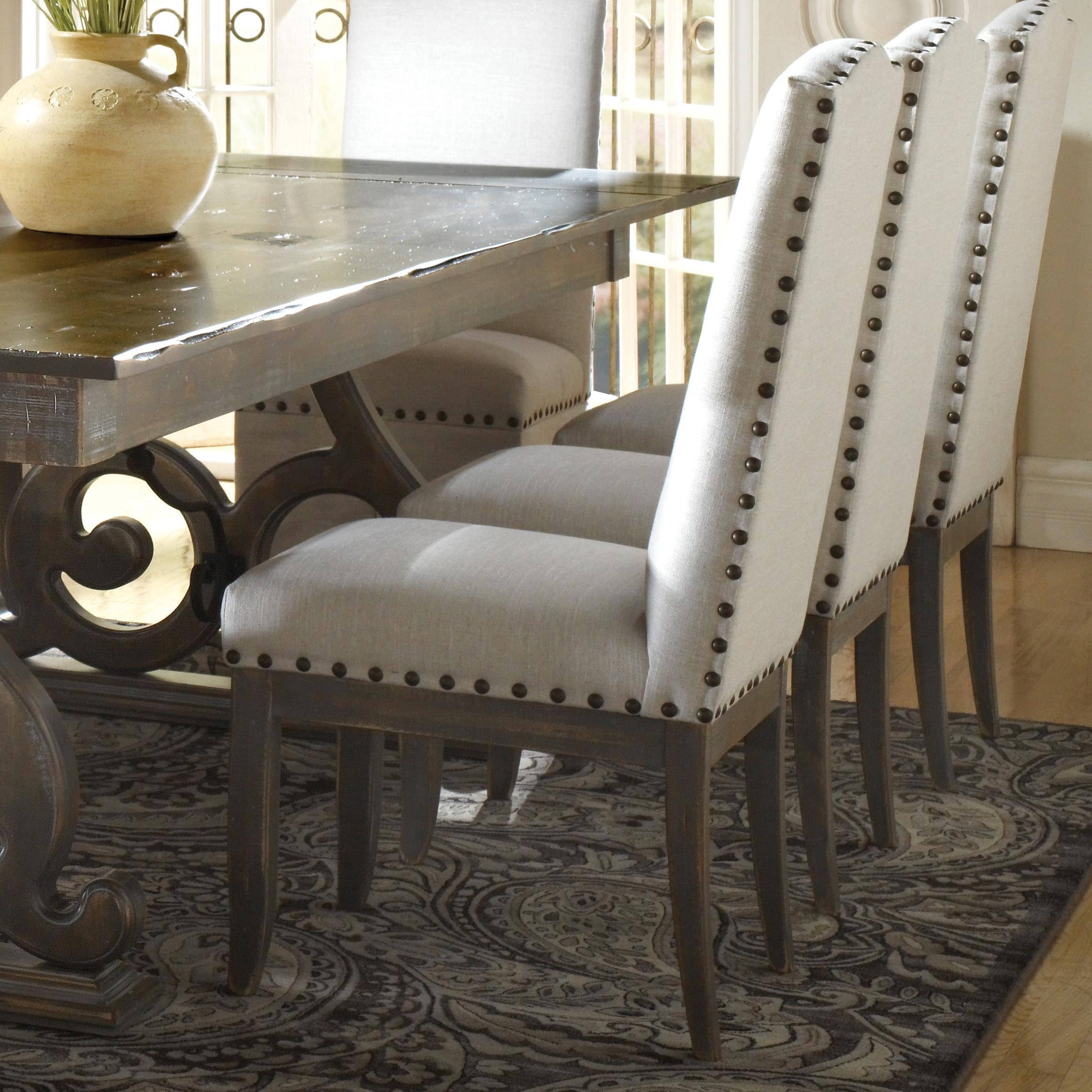 nailhead dining chairs dining room. Canadel Champlain Custom Dining Customizable Upholstered Side Chair With Nailhead Trim Chairs Room E
