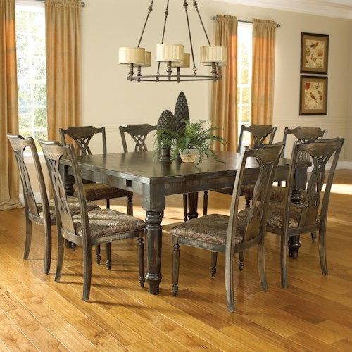 Canadel Champlain - Custom Dining Customizable Square Table Set with 8 Chairs