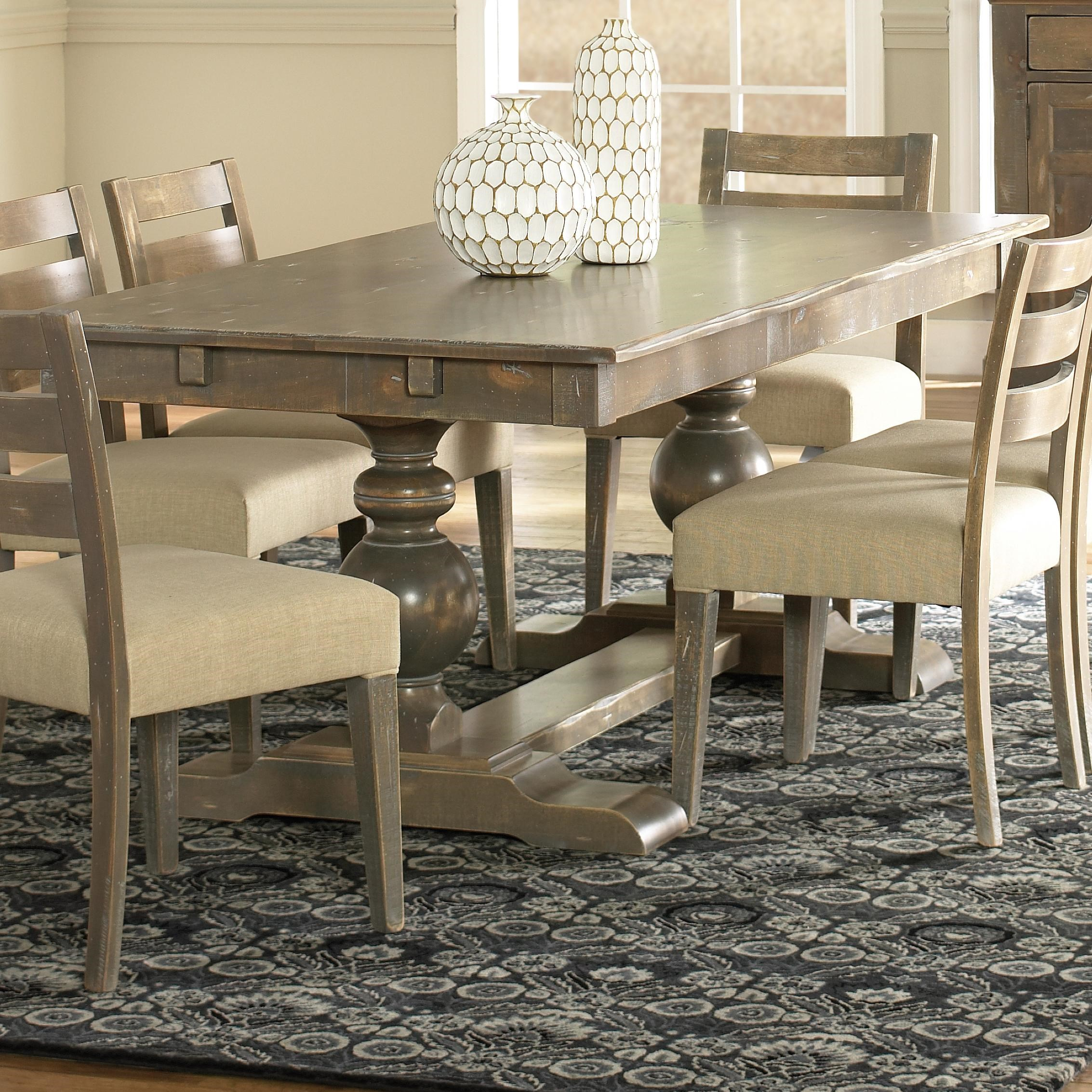 Canadel Champlain   Custom Dining Customizable Rectangular Table With  Trestle Base
