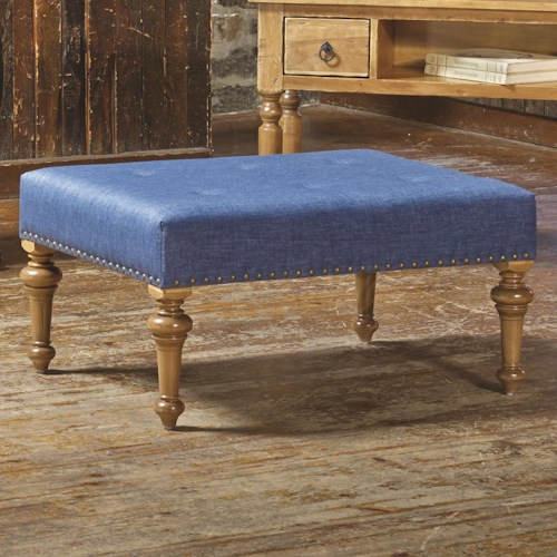 Canadel Champlain - Living Customizable Rectangular Ottoman with Tufting & Bronze Nailheads