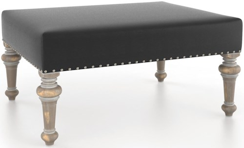 Canadel Champlain - Living Customizable Rectangular Ottoman with Nailheads