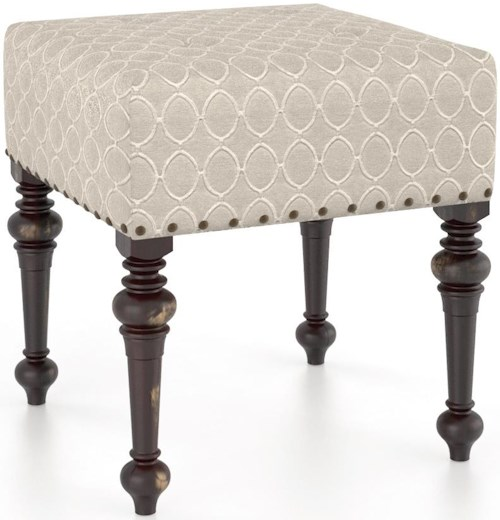 Canadel Champlain - Custom Dining Customizable Square Ottoman with Bronze Nailheads