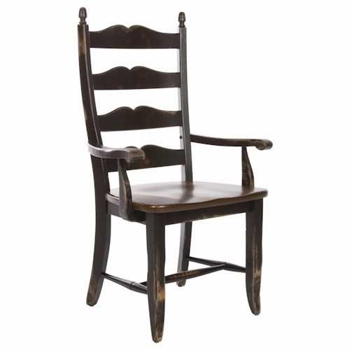 Canadel Champlain - Custom Dining Customizable Sculpted Ladderback Dining Arm Chair