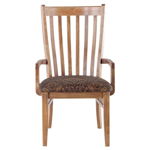 Canadel Champlain - Custom Dining Customizable Upholstered Slat Back Arm Chair