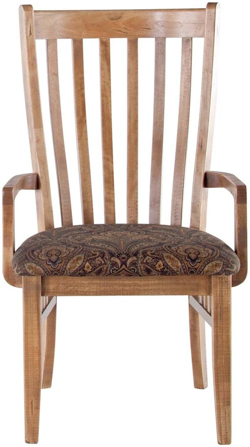 Canadel Champlain - Custom Dining Customizable Upholstered Slat Back Arm Chair