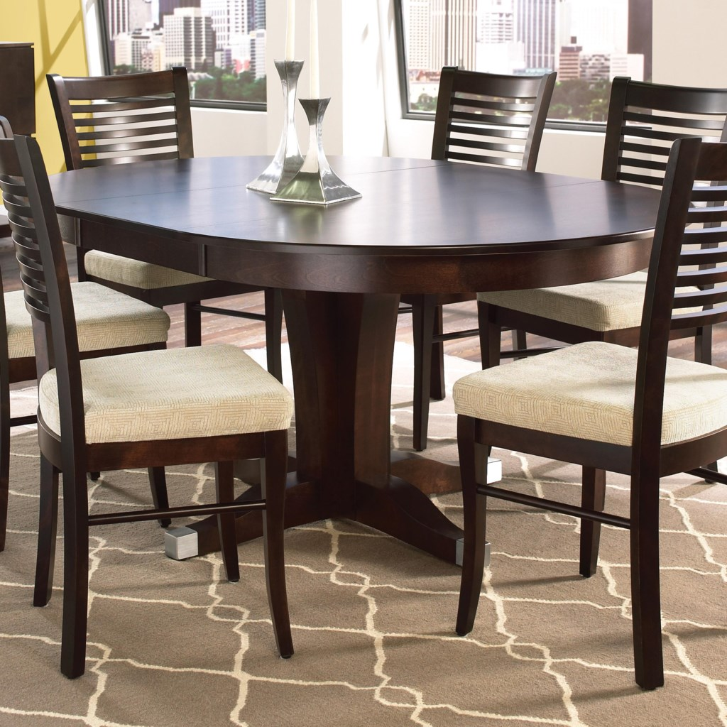 canadel custom dining customizable round table with pedestal and