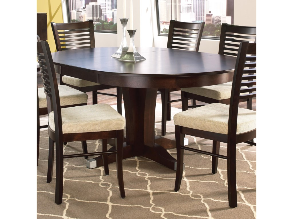 Canadel Custom Dining Customizable Round Table With Pedestal And - Custom kitchen table and chairs