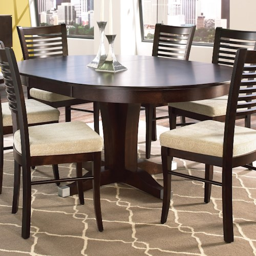 Canadel Custom Dining Customizable Round Table with Pedestal and Leaf