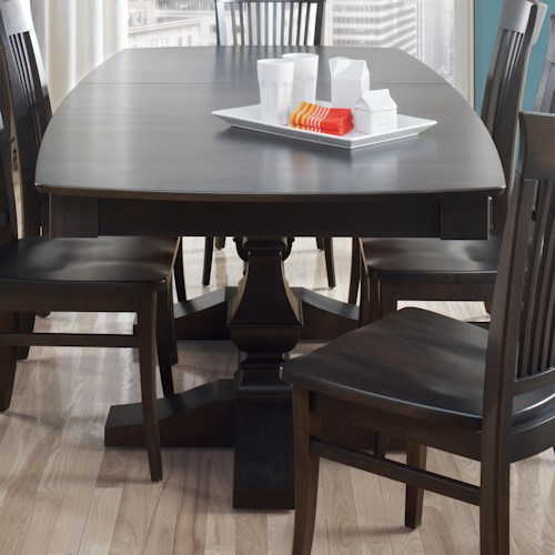 Canadel Custom Dining Customizable Boat Shape Table With Leaf - Custom dining room table and chairs