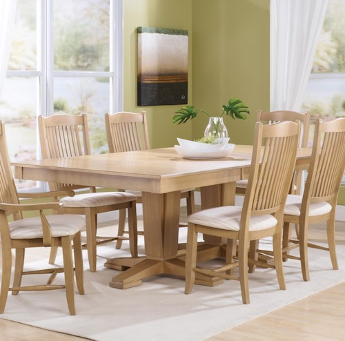 Canadel Custom Dining Customizable Rectangular Table with Pedestal Base
