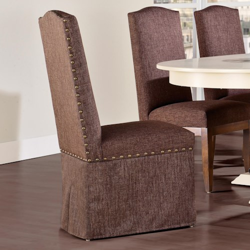 Canadel Custom Dining Customizable Upholstered Side Chair with Skirt and Nailhead Trim