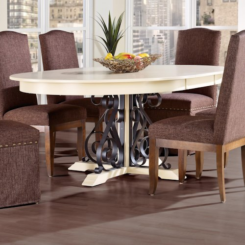 Canadel Custom Dining Customizable Round Table with Pedestal & Leaf
