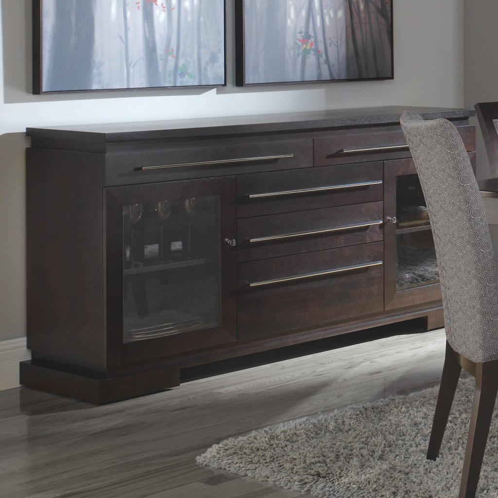canadel custom dining modern customizable buffet with 2 glass