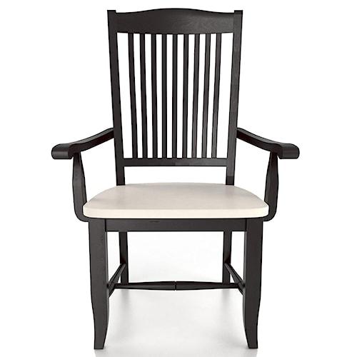 Canadel Custom Dining Customizable Slat Back Armchair - Wood Seat