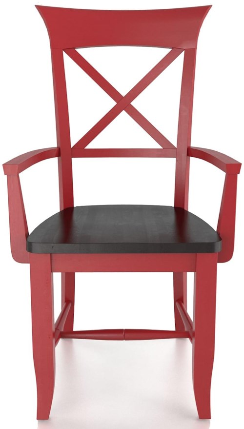 Canadel Custom Dining Customizable X Back Arm Chair - Wood Seat