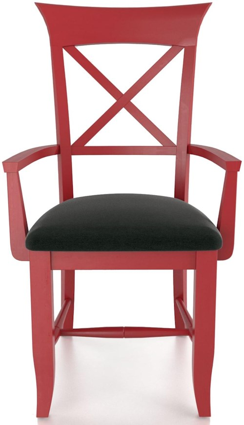 Canadel Custom Dining Customizable X Back Upholstered Arm Chair