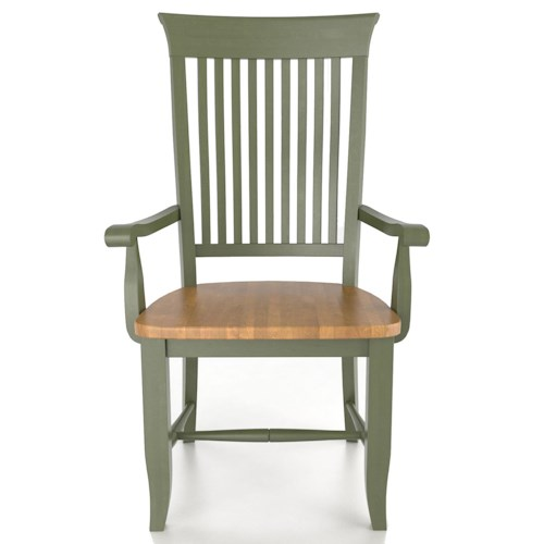 Canadel Custom Dining Customizable Slat Back Arm Chair - Wood Seat