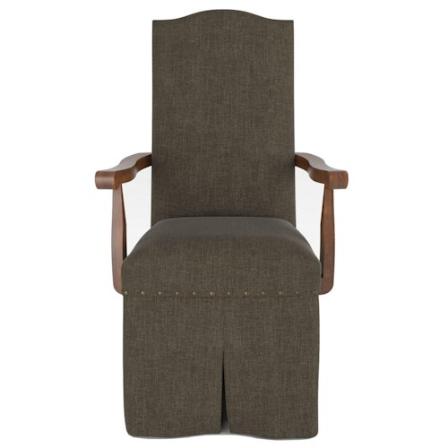 Canadel Custom Dining Customizable Upholstered Arm Chair with Skirt and Nailhead Trim