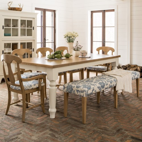 Canadel Custom Dining Customizable Rectangular Dining Table Set with Dining Bench
