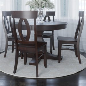 Canadel Core Custom Dining Trn4848 Bas 4xcnn0010 Customizable 5 Piece Round Dining Table Set Esprit Decor Home Furnishings Dining 5 Piece Sets