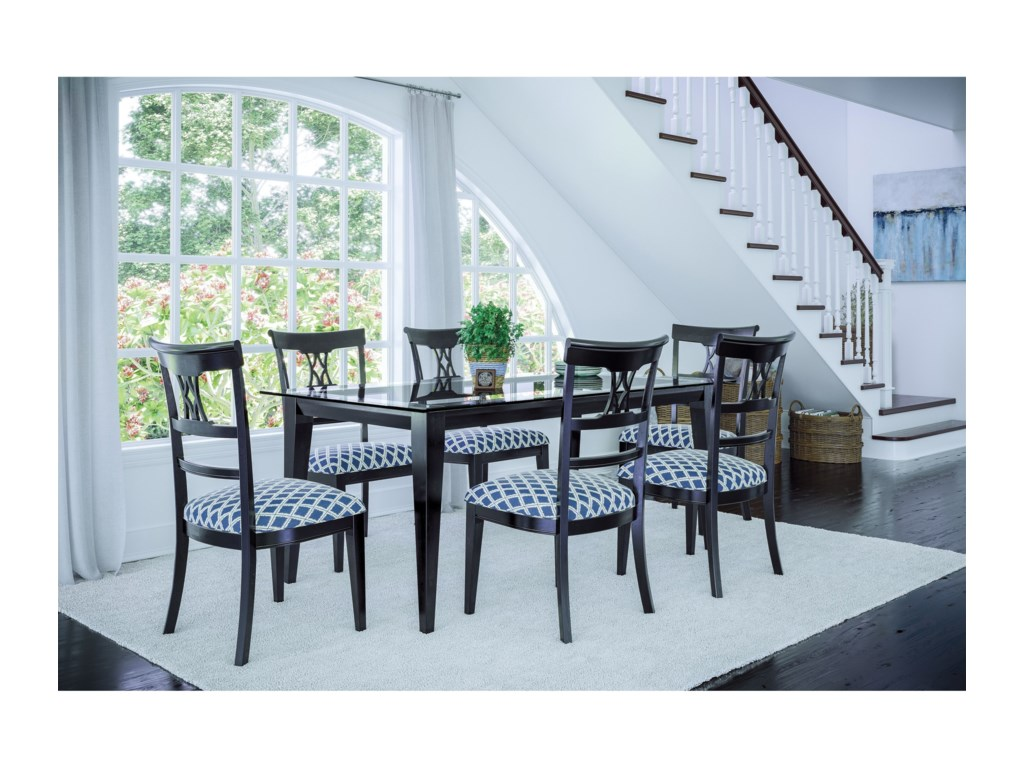 Canadel Custom Dining Customizable Glass Top Dining Table Rotmans - Custom kitchen table and chairs