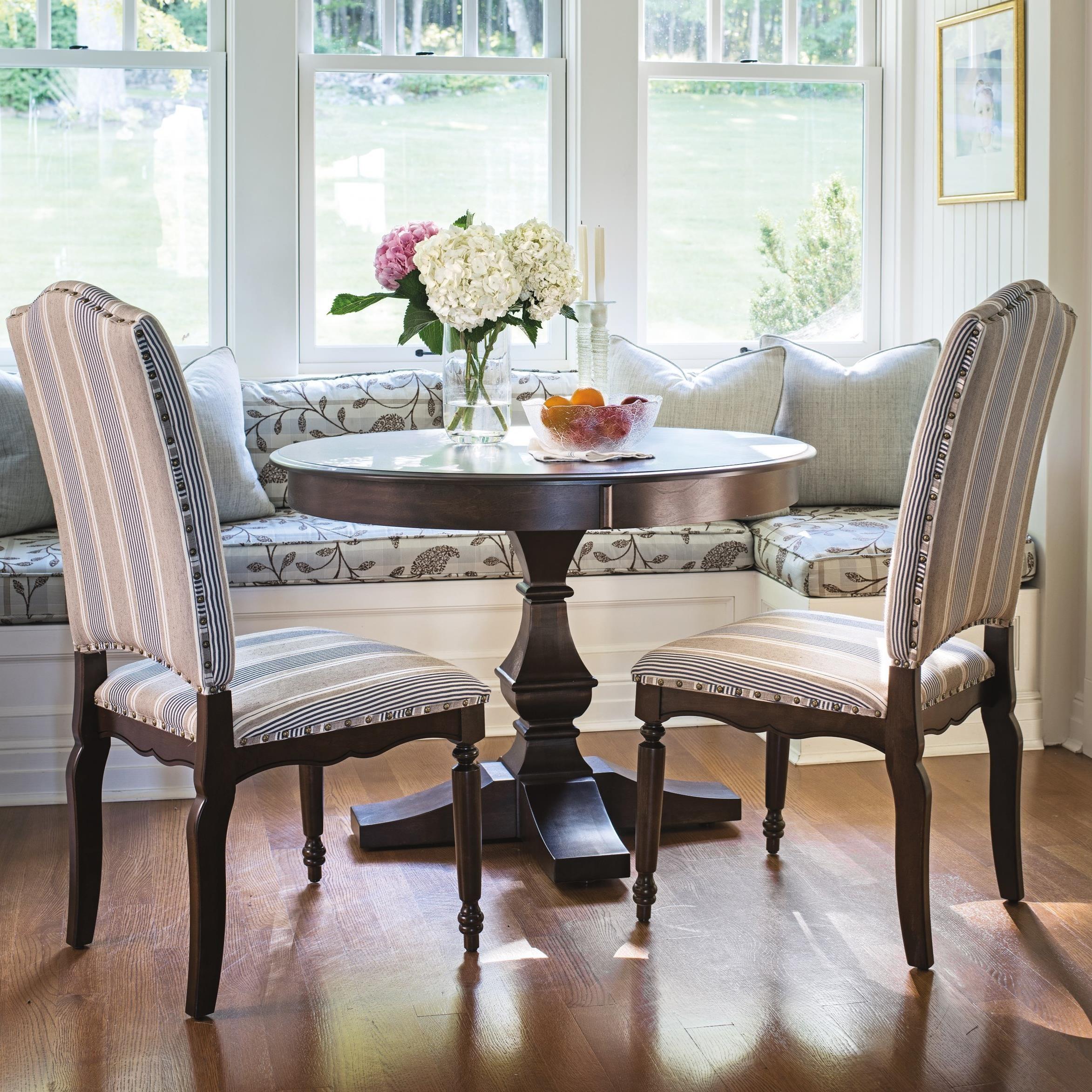 canadel custom dining customizable round dining table set darvin rh darvin com custom dining room seat cushions Dining Room Built Ins
